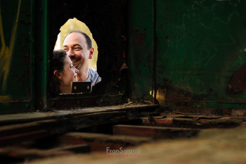 Fotos de preboda en la antigua estación de tren de Aranjuez